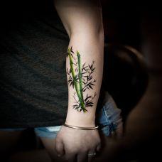 竹韵犹存,手臂水墨画风竹子彩绘纹身