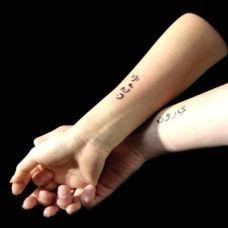 情侣纹身手腕大图案个性梵文纹身