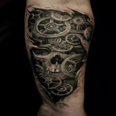 暗黑脚踝骷髅纹身图案