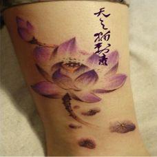 个性水墨纹身腿部图案