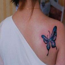 肩部彩色蝴蝶纹身图案