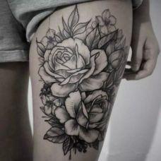 女生腿部图腾纹身图案