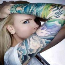 欧美性感女郎花臂纹身