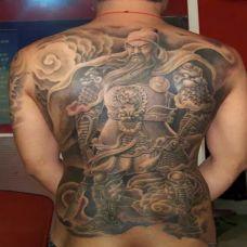 五虎上将关公背部霸气纹身
