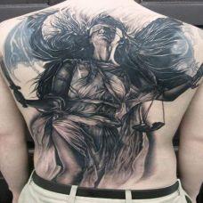 背部逼真唯美天使纹身图案