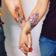 清新唯美好看的情侣纹身