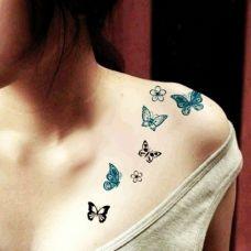 浪漫飘逸蝴蝶少女纹身图片