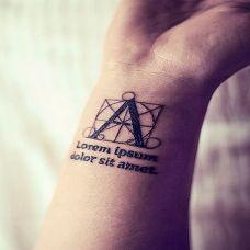 手腕时尚英文字母纹身图案