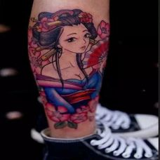 日本艺妓艺术纹身图案