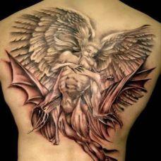 满背纹身图案天使个性图片