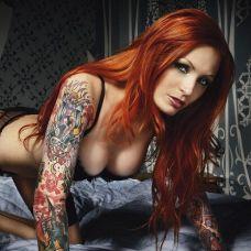 性感欧美美女黑白纹身图片