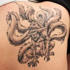 九尾狐霸气纹身图片素材