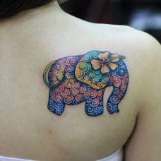 大象纹身图案女生图片合辑