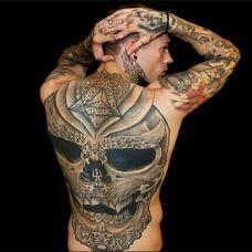 欧美男模背部纹身图片