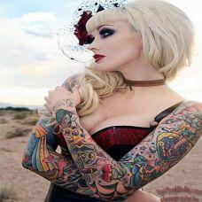 欧美性感美女手臂纹身图片