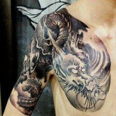霸气龙半甲纹身图片