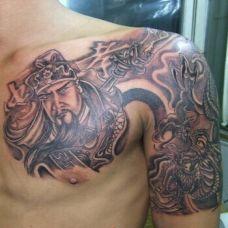 个性男生战马关公纹身图案大全