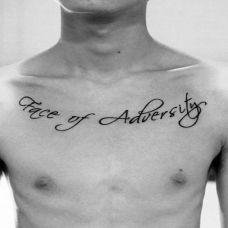 男生胸口英文纹身图案图片