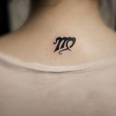 颈部后处女座个性纹身图案