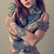 欧美黑社会全身花鸟骷髅纹身图片