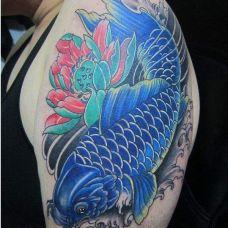 蓝色鱼纹身图片大全