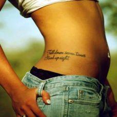 女生腰部性感英文字符纹身图案