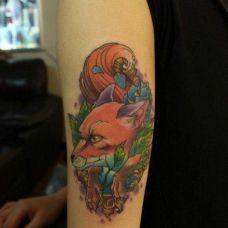 女生纹身狐狸图案个性图片