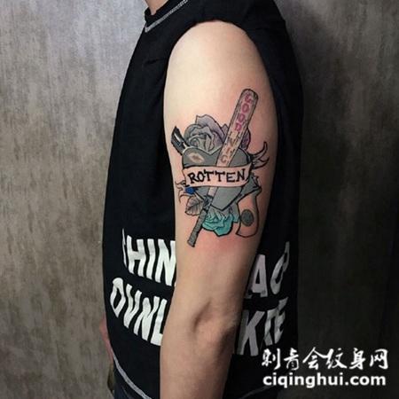 手臂小丑女标志纹身图案
