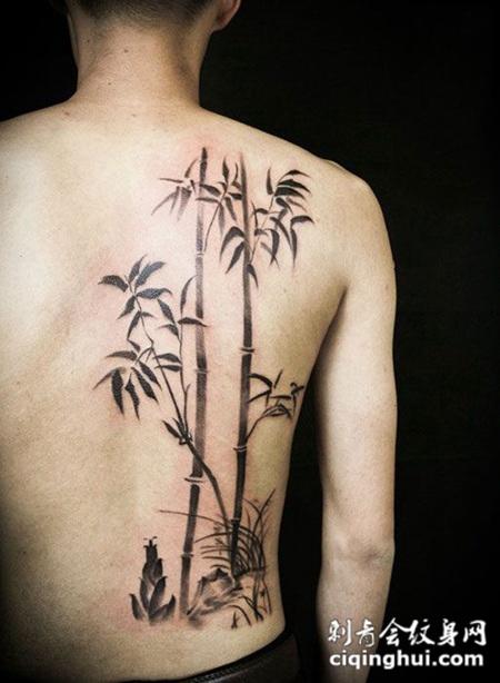 竹报平安,后背竹子纹身图案