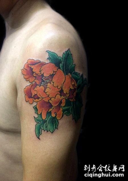 国韵芳华,手臂牡丹花彩绘纹身
