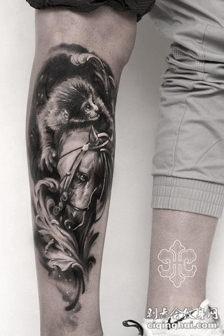 马上封侯,腿部欧美风格纹身图案图片