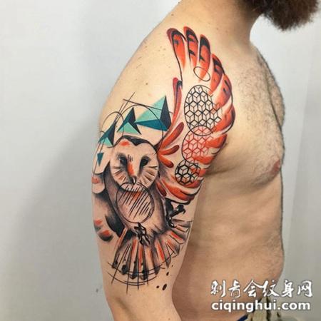 展翅翱翔,手臂猫头鹰水彩纹身