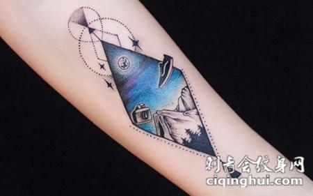 山高路远,手臂风景画彩绘纹身