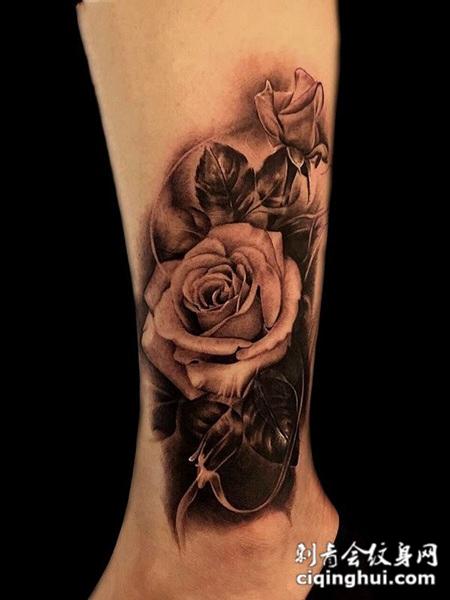 玫瑰花香,小腿玫瑰花个性纹身