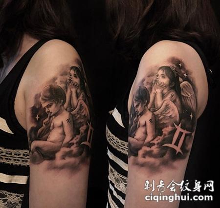 两小无猜,手臂可爱小天使纹身图案
