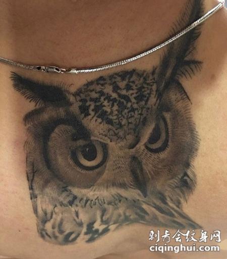 自然守护神,颈部猫头鹰写实纹身