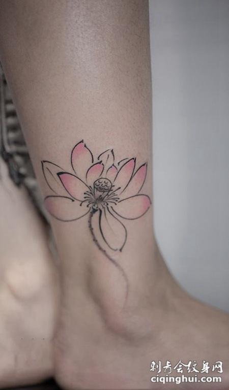 清莲飘香,脚踝小清新莲花纹身