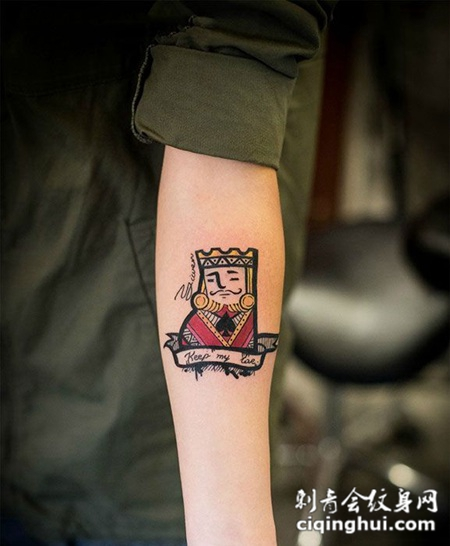 手臂扑克牌纹身图案图片