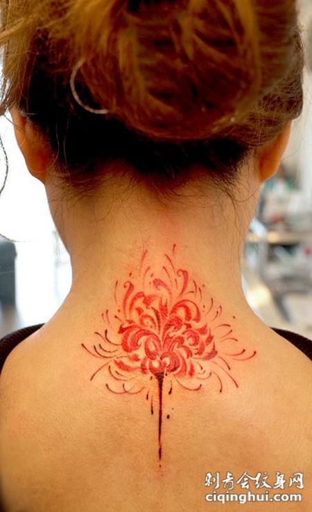 花香彼岸,颈部彼岸花个性纹身