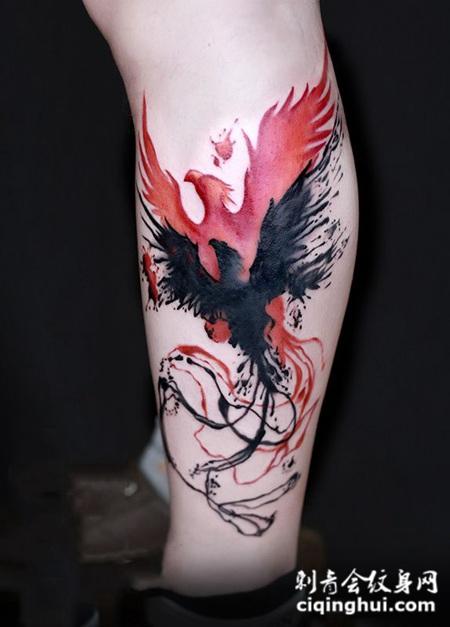 身无彩凤双飞翼,小腿凤凰创意纹身图案图片