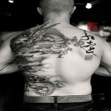 龙游云端,半背中国风神龙纹身