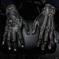 纯黑时尚,手背黑色骷髅纹身图案