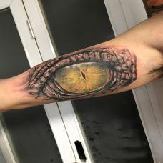 猎物锁定,手臂写实风格鳄鱼眼睛彩绘纹身