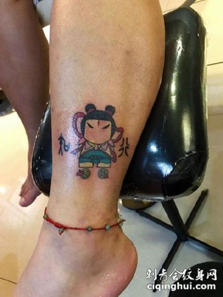 脚踝处搞怪卡通哪吒纹身图案,您可能还会喜欢背部流行经典的一幅图片