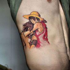 兄弟情深,侧腰卡通海贼王纹身图案