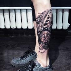 腿部个性黑无常纹身图案