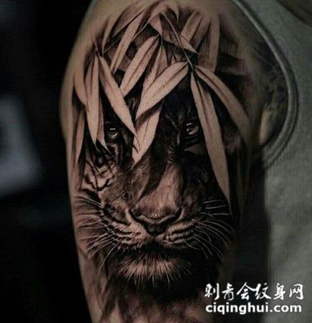丛林猛虎,手臂3d写实风格老虎纹身