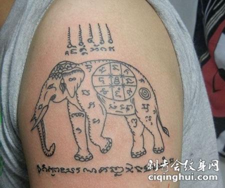泰国大象经文纹身图片