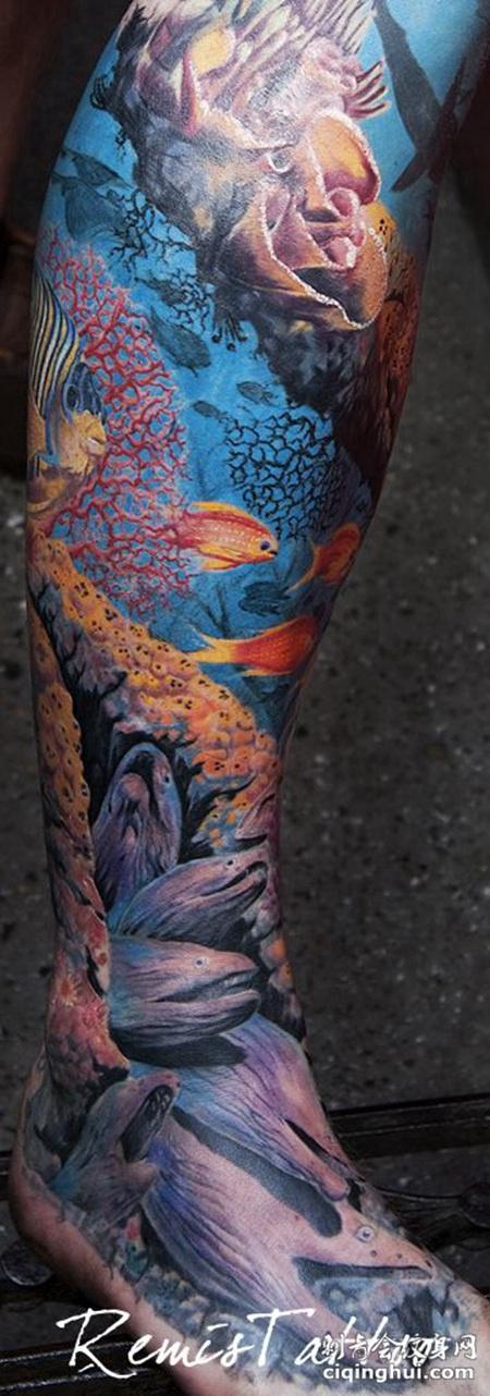 小腿海底世界纹身