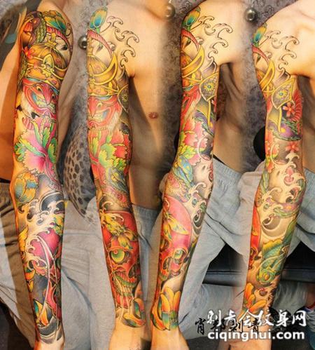 花臂鬼武士骷髅纹身图片